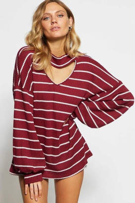 Bibi Striped Waffle-Knit Top