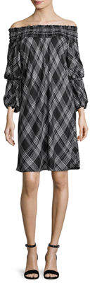 Max Studio Smocked Off-the-Shoulder Plaid Dress