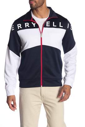 Perry Ellis Logo Print Colorblock Jacket