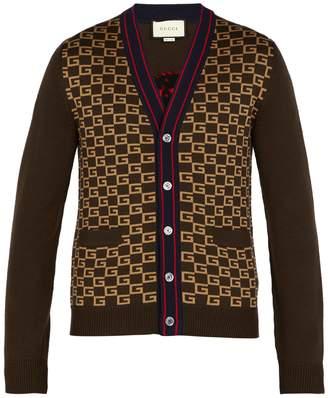 Gucci GG-intarsia wool cardigan