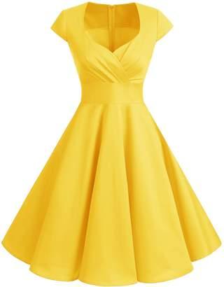 Bbonlinedress 1950s Summer Vintage Sweetheart Classy Rockabilly Cocktail Swing Dress 2XL