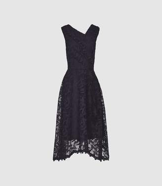 Reiss Rayna - Wrap Front Lace Dress in Navy