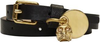 Alexander McQueen Black Skull Charm Double Wrap Bracelet $245 thestylecure.com