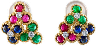 Christian Dior Estate Estate 18K Yellow Gold Diamond/Emerald/Sapphire/Ruby Earrings