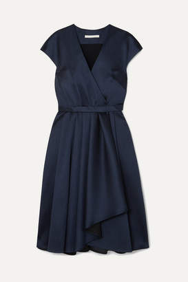 Jason Wu Collection - Belted Wrap-effect Satin Dress - Navy