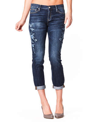 Nicole Miller New York Floral-Embroidered Roll-Cuff Boyfriend Jeans