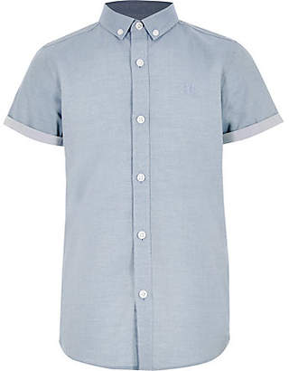River Island Boys blue RI short sleeve shirt