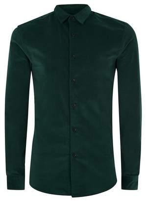 Topman Mens Green Corduroy Muscle Fit Shirt