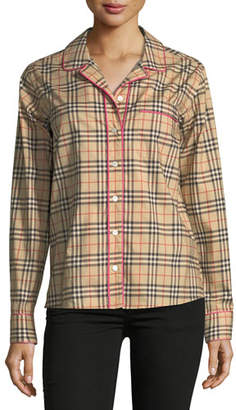 Burberry Check-Print Pink Piped Long-Sleeve Shirt
