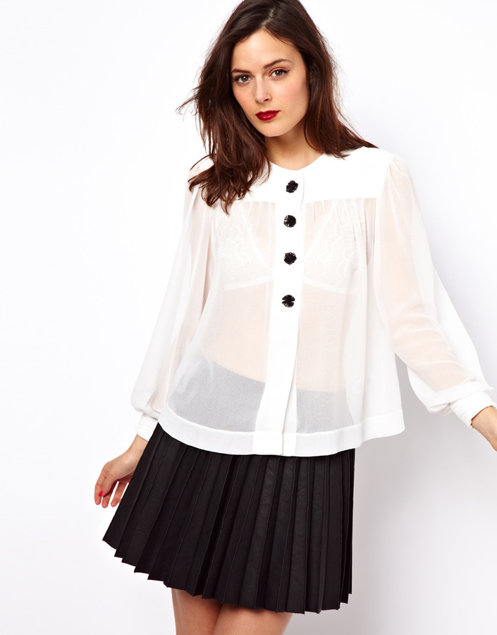 Asos Blouse With Quilted Yoke And Inserted Buttons