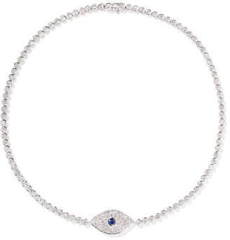 Anita Ko Evil Eye 18-karat White Gold, Sapphire And Diamond Choker
