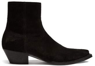 Saint Laurent Lukas Suede Boots - Mens - Black