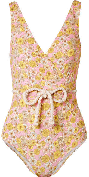 Yasmin Belted Floral-print Stretch-crepe Swimsuit - Pink