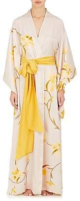 Carine Gilson Women's Orchid-Print Silk Kimono Robe
