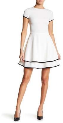 Love...Ady Contrast Trim Cap Sleeve Fit & Flare Dress