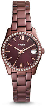 Fossil Scarlette Three-Hand Date Wine Stainless Steel Watch