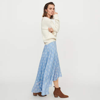 Maje Long printed ruffle skirt