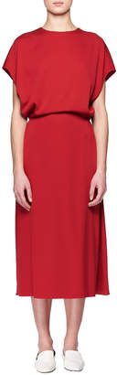 The Row Cyde Dolman-Sleeve Blouson-Top A-Line Silk Dress