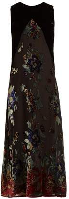 Masscob Floral-print velvet-devoré dress