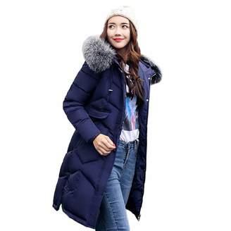 Kimloog-women coat Kimloog Women Winter Warm Padded Parka Thick Long Slim Fur Hood Outerwear Coat (,M)