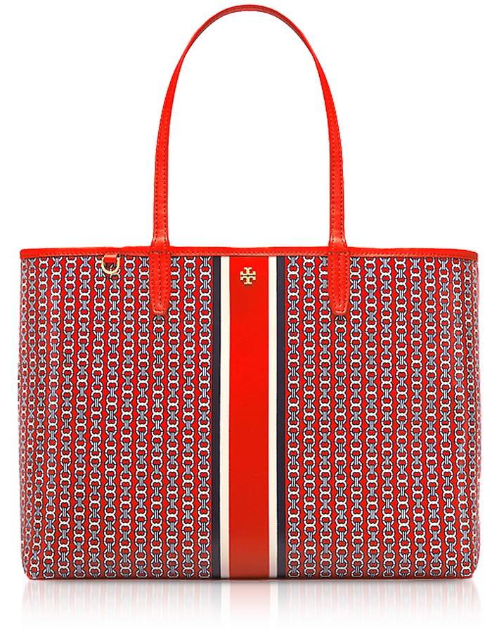 Tory Burch Exotic Red Gemini Link Stripe Canvas Tote Bag - ONE COLOR - STYLE