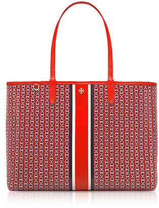 Tory Burch Exotic Red Gemini Link Stripe Canvas Tote Bag