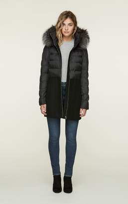 Soia & Kyo VELMA-FX mid length mixed media coat with removable fur