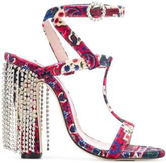 Leandra Medine embellished floral T-bar sandals