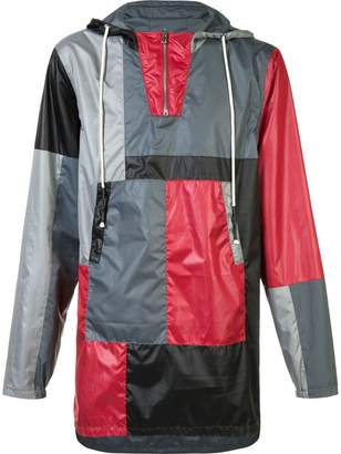 Mostly Heard Rarely Seen colour block hooded coat
