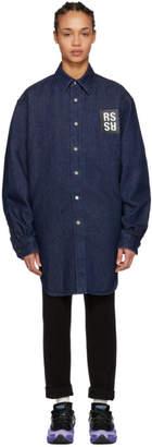 Raf Simons Navy Elastic Denim Shirt