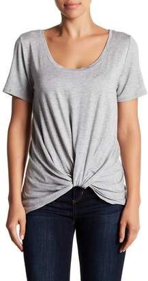 Socialite Short Sleeve Knot Front Burnout Tee