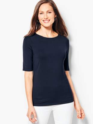 Talbots Elbow-Sleeve Scoop-Neck Top - Solid