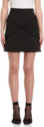 Giamba Black Lace Trim Mini Skirt