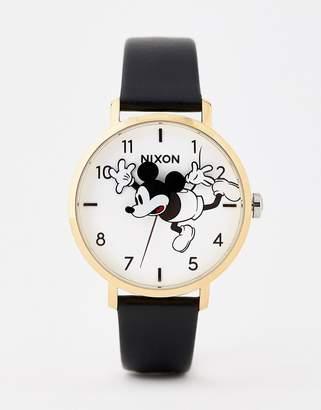 Nixon X Mickey Mouse Arrow Leather Watch In Black