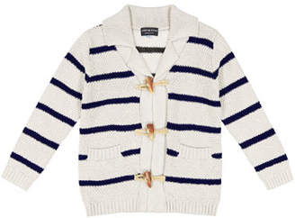 Andy & Evan Toggle-Front Stripe Knit Cardigan, Size 3-24 Months