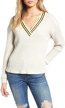 --- Varsity Stripe Ribbed Sweater