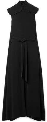 Co Belted Plissé-trimmed Crepe De Chine Maxi Dress - Black