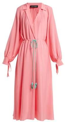 Anna October - Collared Bishop Sleeve Silk Blend Dress - Womens - Pink