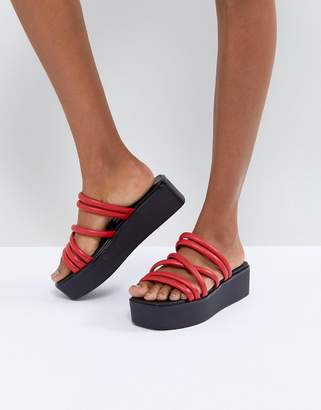 Vagabond Bonnie Red Strappy Leather Flatform Sandals
