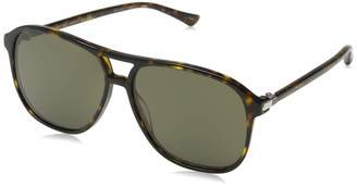 Gucci Men's Polarized GG0016S-003-58 Tortoiseshell Aviator Sunglasses