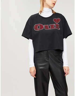 The Kooples Oui-print cotton-jersey T-shirt