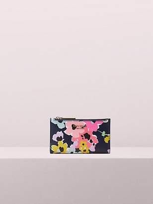 Kate Spade Sylvia Wildflower Bouquet Small Slim Bifold Wallet, Navy