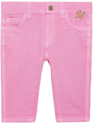Gucci Kids Baby stretch denim pant with bee