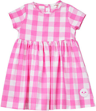 Smiling Button Bubble Gum Gingham Short-Sleeve Dress, Size 18M-6