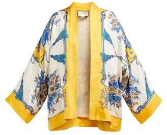 Gucci Intrigue Print Silk Kimono Style Jacket - Womens - Blue Multi