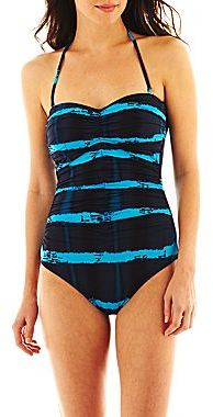 JCPenney a.n.a® Shirred Tie-Dyed 1-Piece Bandeau Swimsuit