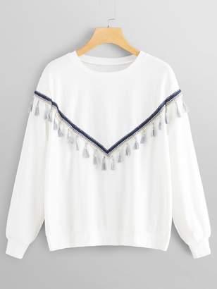 Shein Plus Fringe Detail Sweatshirt