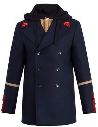 Gucci Caban Detachable Hood Wool Coat - Mens - Navy
