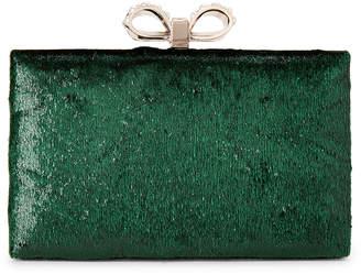 La Regale Green Velvet Box Bow Clutch