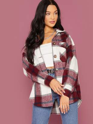 Shein Single Breasted Flap Pocket Front Plaid Coat